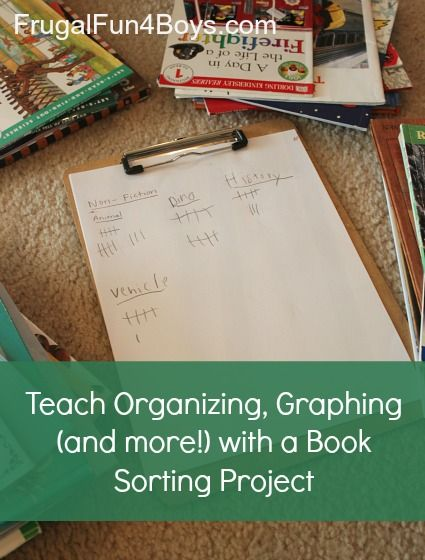 Teach Organizing, Graphing, and More with a Book Sorting Project