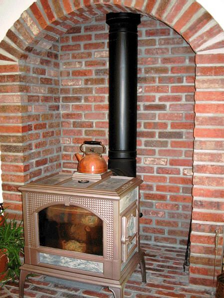 wood stove surround] | Wood Burning Stove - Brick Surround
