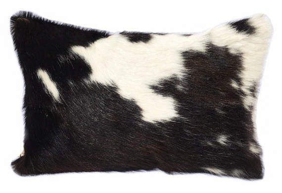 Cowhide Pillow  Cow Hide  Leather  Lumbar Pillow  Tricolor