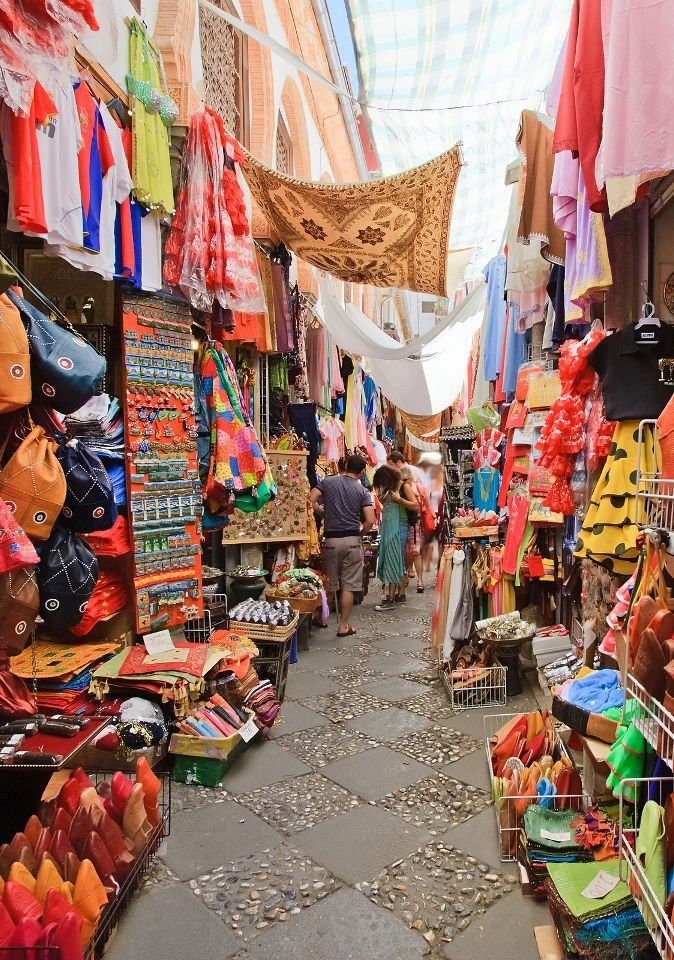 The Alcaicería market in Granada, Spain, where the Romans used to trade silk.