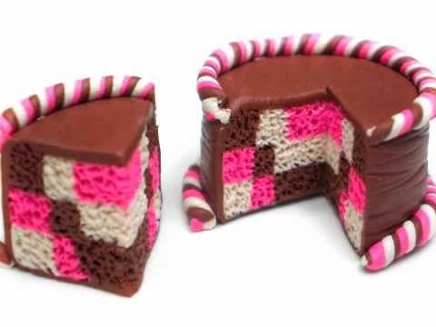 Clay Made Easy: Checkerboard Pattern Cake (**Turn on captions**) - YouTube