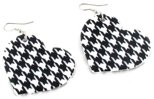 Houndstooth Heart Earrings