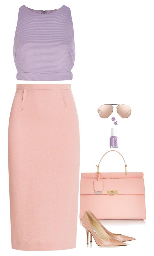 """""""Pastel Pretty"""" by miki006 ❤ liked on Polyvore featuring River Island, Roland Mouret, Essie, Balenciaga, Jimmy Choo and Linda Farrow"""