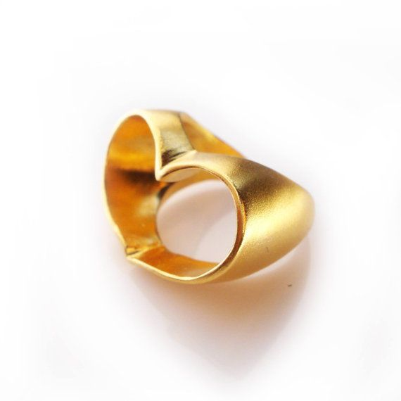 Heart Ring in Gold Open Heart Gold Ring by osnatharnoy on Etsy