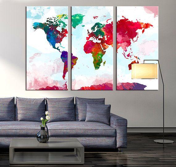 Wand-Leinwand Drucken Aquarell Welt Karte von ExtraLargeWallArt