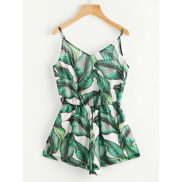 SheIn(sheinside) Tropical Print Elastic Waist Cami Romper ($16) ❤ liked on Polyvore featuring jumpsuits, rompers, green, playsuit romper, white camisole, long-sleeve rompers, green cami and green jumpsuit