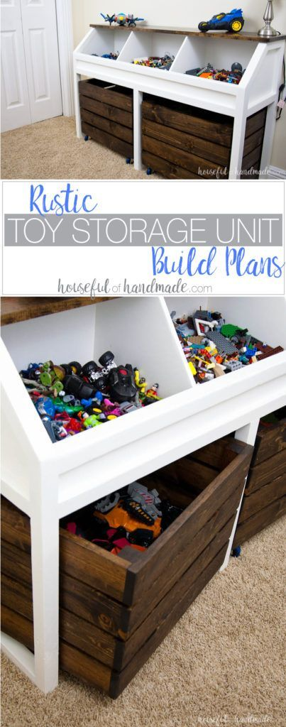 I love this grown-up take on a toy box! Create a console table to organize all the toys. This rustic toy storage unit has large open bins and rolling carts for lots of toy storage. Get the free build plans. | Housefulofhandmade.com
