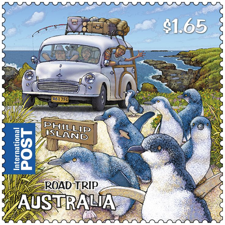 The road trip of today has its roots in the distant past, although taking to the tarmac in the 21st century doesn't look much like its predecessors. This #stamp takes us off the beaten track to Phillip Island, where Little Penguins (Eudyptula minor) parade from beach to sand dunes at sunset each eve http://auspo.st/QjRJ3d