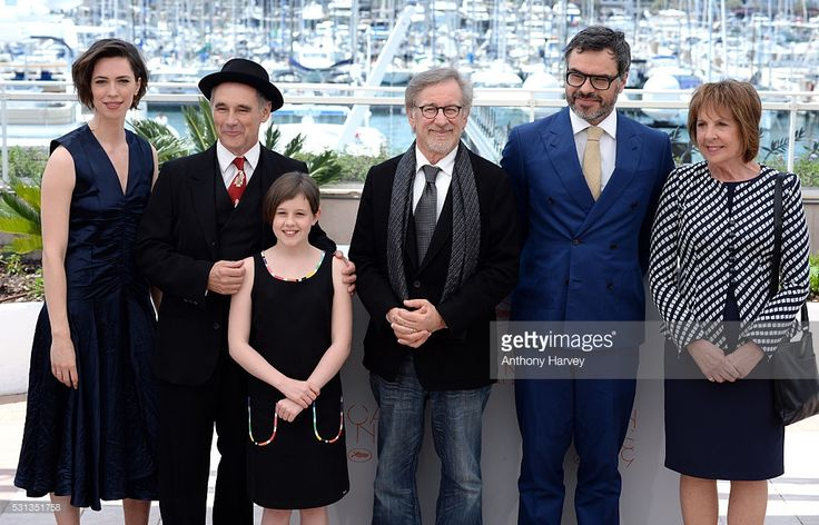 Rebecca Hall; Mark Rylance, Ruby Barnhill, Steven Spielberg, Jemaine Clement and Penelope Wilson attend 'The BFG (Le Bon Gros Geant - Le BGG)' photocall during the 69th annual Cannes Film Festival at the Palais des Festivals on May 14, 2016 in Cannes, France.