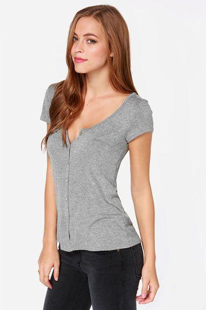 b0a5652426d40 Summer Women Tops Deep V-Neck Short Sleeve Single-Breasted Slim Casual T- Shirt camisetas Sexy T-Shirts NC-722 - Gray