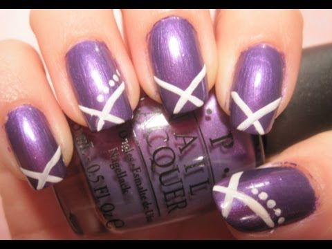 Tutorial: Simple Purple and White Nail Design