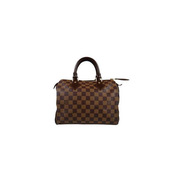 Louis Vuitton – Speedy 25 Damier — Leihen oder Mieten bei... (675 CAD) ❤ liked on Polyvore featuring bags, handbags, bolsas, louis vuitton, accessories, handbags & purses, brown handbags, louis vuitton bags and brown purse