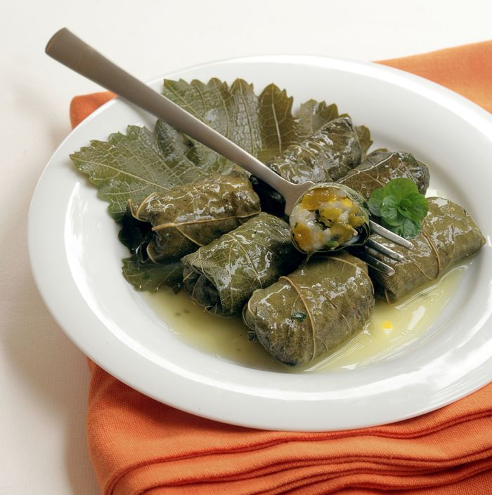 Greek Thanksgiving! Grape Leaves Stuffed with Pumpkin, Rice and Herbs