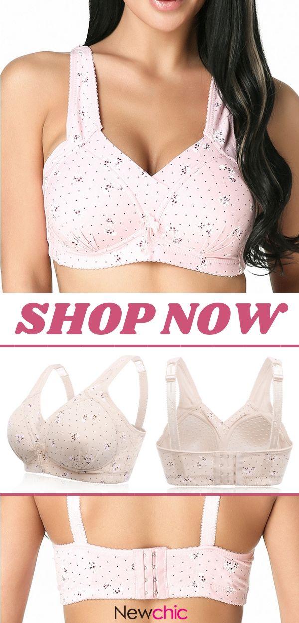 Cotton Massage Floral Printed Wireless Gather Busty Adjustable Bras Cotton Massage Wireless Adjustable Bras
