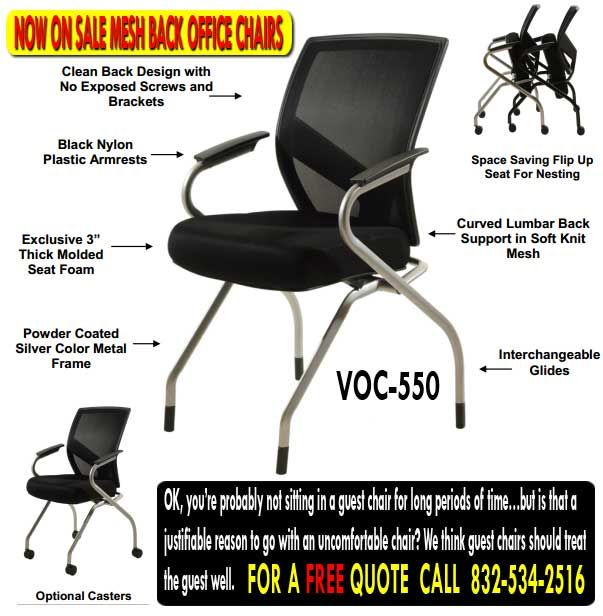 Office Chairs For Sale Call Us For A FREE VOC550 Office Chair Quote 832-534-2516 Viper's line of sleek looking office guest chairs will enhance your office profile.  Let's face it.  Nothing is more uninspiring than seeing a business cobble together uninspiring then seeing a business cobble together Guest seating with ugly 1970s office guest chairs and cheap folding chairs.  Such a setup may be inexpensive