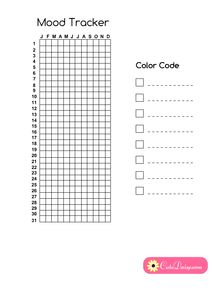 Free Printable Year in Pixels Mood Tracker for Planner