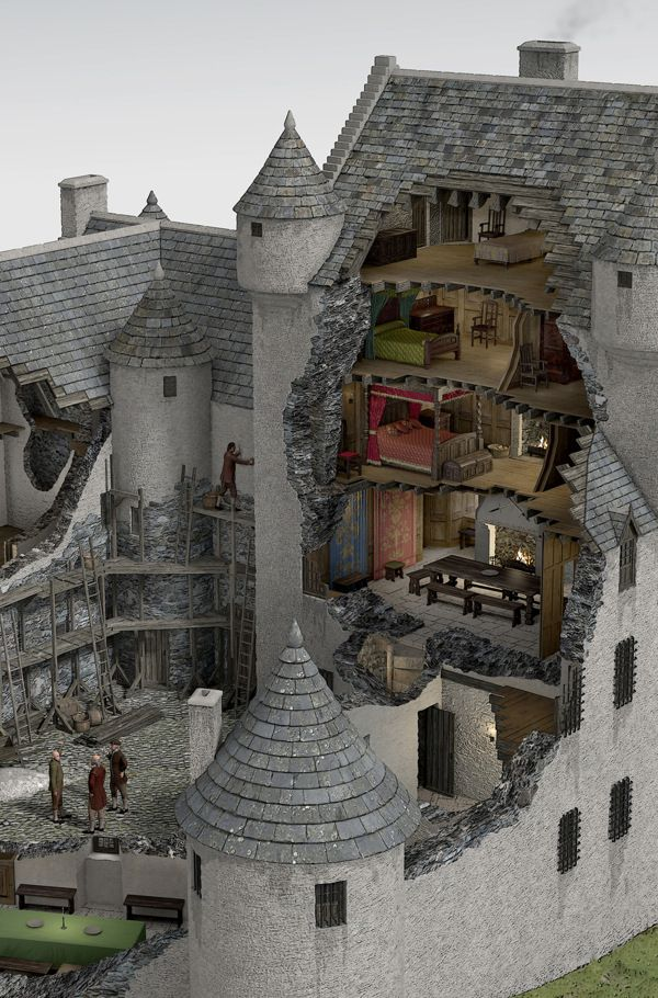 Kilchurn Castle - reconstruction and cutaway visualisation (close).