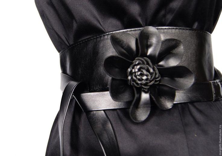Купить Длинный пояс-кушак - черный, кожаный цветок, цветок из кожи, длинный пояс