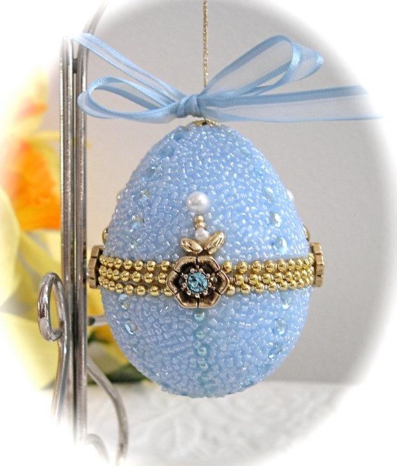 Fabergelike Beaded Egg Ornament Pastel Blue by janiechampagnie570 x 668   85.6KB   www.etsy.com