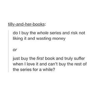 The dilemma of whether or not to go all in and buy a complete book series. | 24 Photos That Are Way Too Real For Book Lovers