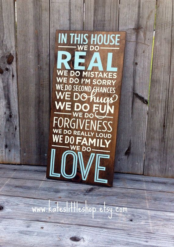 Beautiful HAND PAINTED Family Rules Wooden by Kateslittleshop