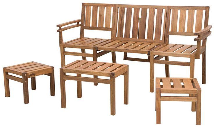 Zestaw nowoczesnych mebli balkonowych składający się z drewnianej ławki modułowej, stolika oraz dwóch stołków. Odporny na działanie warunków atmosferycznych.  http://meblefann.pl/product-pol-115-Zestaw-LOVE-SEATTLE.html