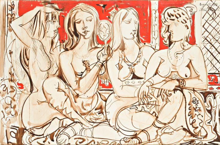 1957.07.26 Renato Marino Mazzacurati Ricordo di Beyrouth - quattro donne sedute #renatomarinomazzacurati #mazzacurati