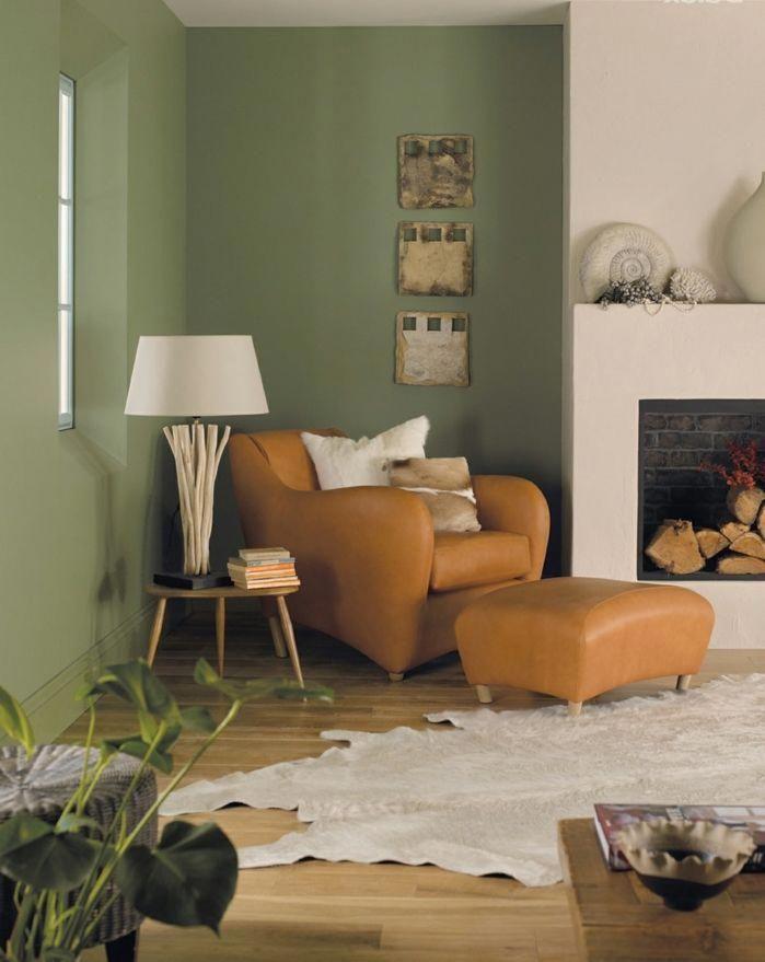 Estilo Rustico Decoracion Pintura Para Paredes Combinacion De Verde Seco Y Blanco Sillon De Piel Chim Colores Para Sala Pintar La Sala Pinturas Para Living