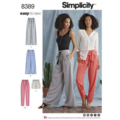 Simplicity Pattern 8389 Misses' Pants with Length and Width Variations and Tie Belt