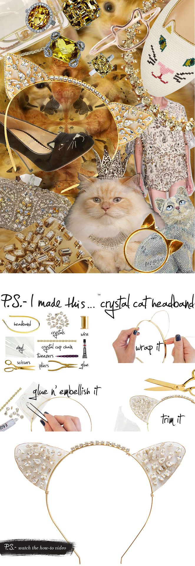 P.S.-I made this...Crystal Cat Headband #PSIMADETHIS #DIY @Farshad Family Inanlou Step #FelineArts
