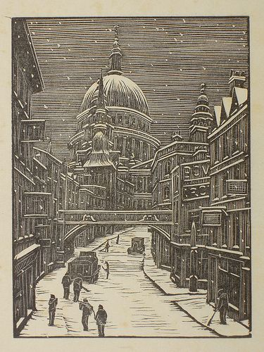 online clothing shops   34 Ludgate Hill  London snow  39  by Gwen Raverat  1939  wood engraving