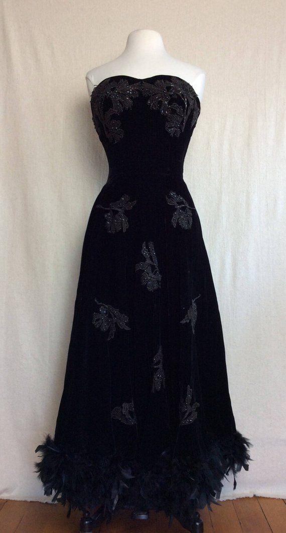 e80ffadaec69 1950's Black Velvet Gown // black velvet vintage dress feather beaded  appliqué sequin embellished ball gown halloween elegant costume Small in  2019 | Sweet ...