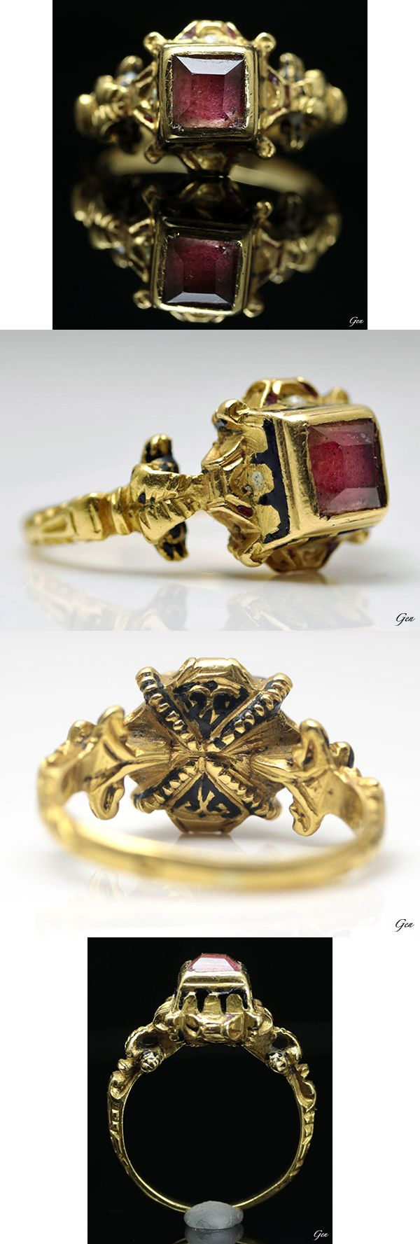 Renaissance table-cut rock crystal ring, Italy, ca. 1550, rock crystal, high carat gold (about 22k), enamel, bezel length 1 × 1cm, height 8mm, 5.7g, The ring is embellished with a pink-red colored foil backing.