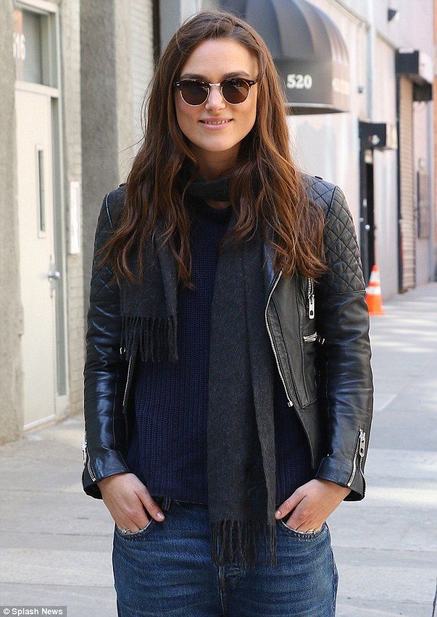 Biker girl: Keira Knightley went hell for leather in a fitted biker jacket and baggy boyfriend jeans as she filmed Collateral Beauty in New York on Wednesday
