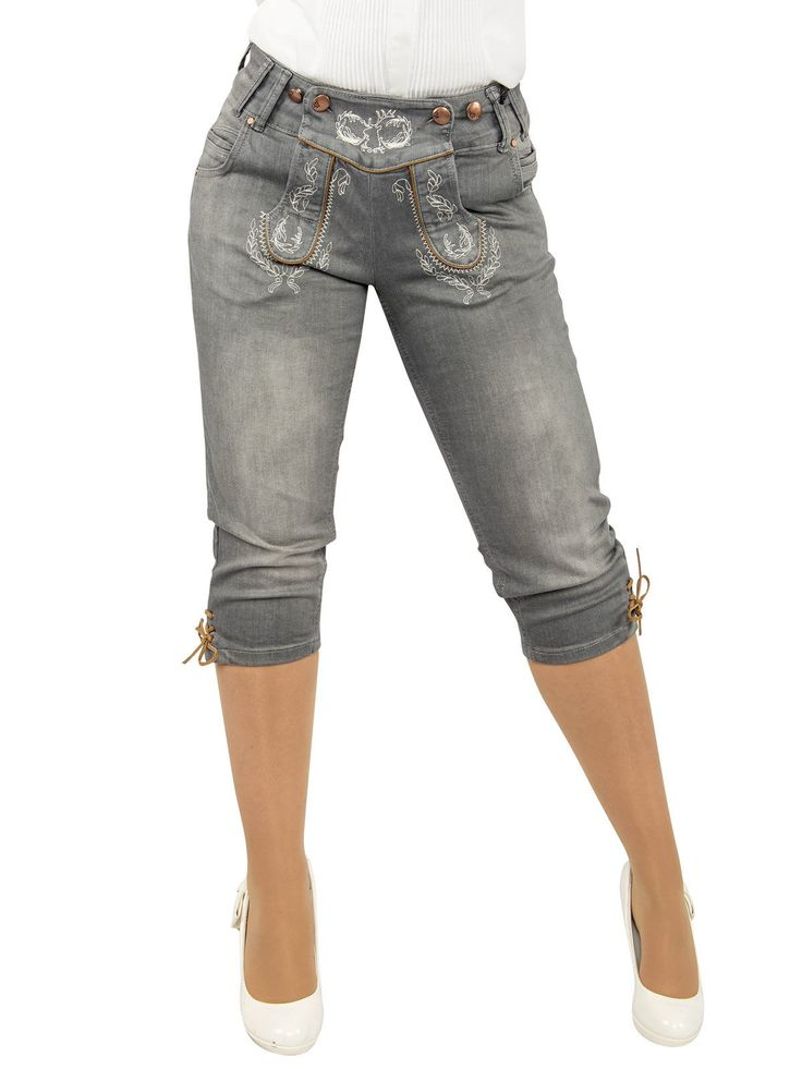 trachtenjeans damen   MarJo Damen Jeans Kniebundhose Trachtenjeans grau jeans