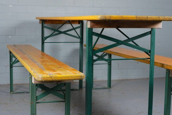 German Beer Hall Folding Table And Benches | Vinterior London  #vintage #industrial #design