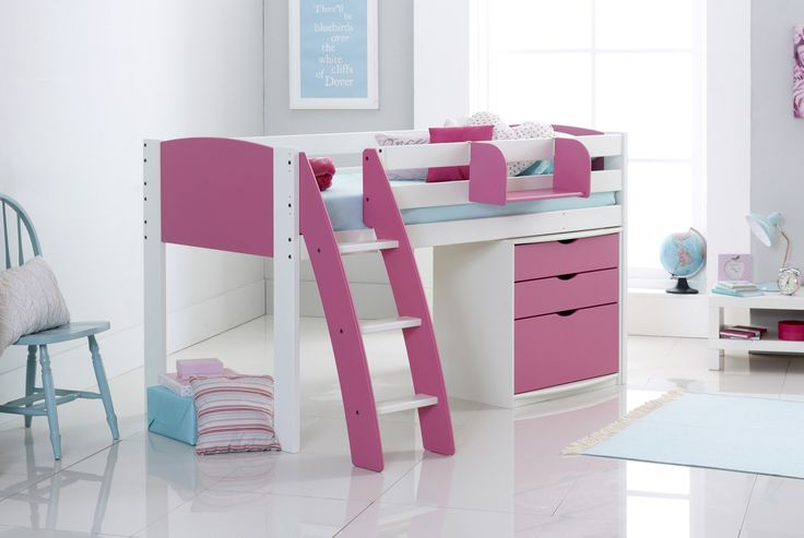 The Scallywag Exclusive Midsleeper Cabin Bed releases lots of valuable storage space underneath. The 3 Drawer Chest in this package provides a great solution for keeping clothes organised. The deep drawer at the bottom is particularly handy for those bulky items. Curved or Straight ladder options which can be positioned on the left or right hand side. Available with 8 colour choices & particularly suitable for small rooms with narrow and/or shorty options.