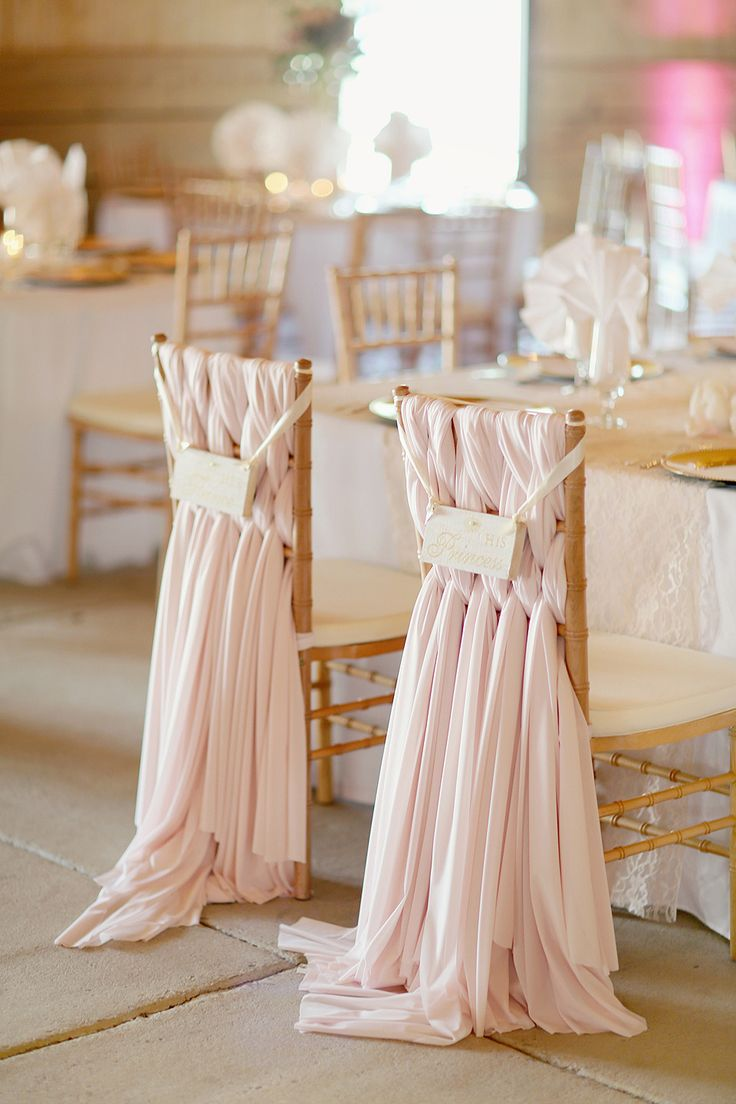 Blush Pink Gold Wedding chair decor. Photography: Simply Bloom Photography