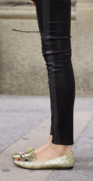 Leather jeans + glitter flats