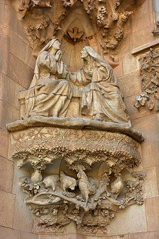 Sagrada Familia. Basilica and Expiatory Church of the Holy Family in Barcelona. Antoni Gaudi. Façade of the Nativity, the Visitation. Catalonia