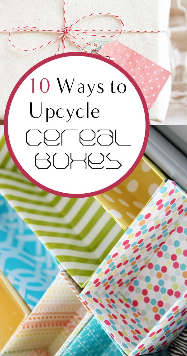 10 Ways to Upcycle Cereal Boxes! I think perfect for they odd bathroom drawers for makeup!
