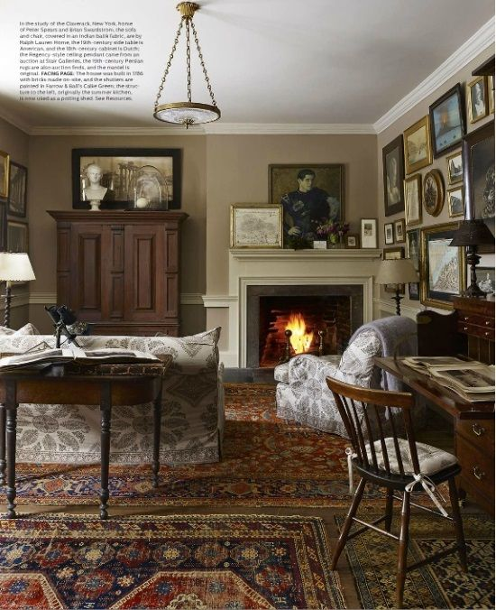 Celia Barbour Living History The 1786 Home Of Peter Spears And Brian Swardstrom In Claverack New York Elle Decor December Study Walls Are Painted