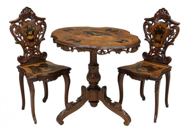(set Of 3) Swiss Black Forest Marquetry Parlor Suite, 19th C.,