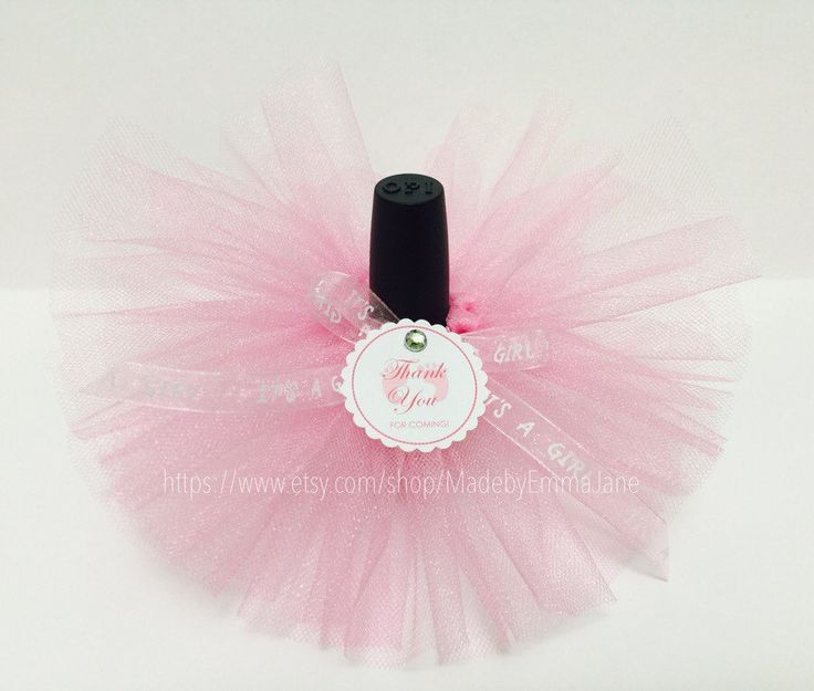 Set Of 10 Baby Shower Nail Polish Tutus With Customizable Tags