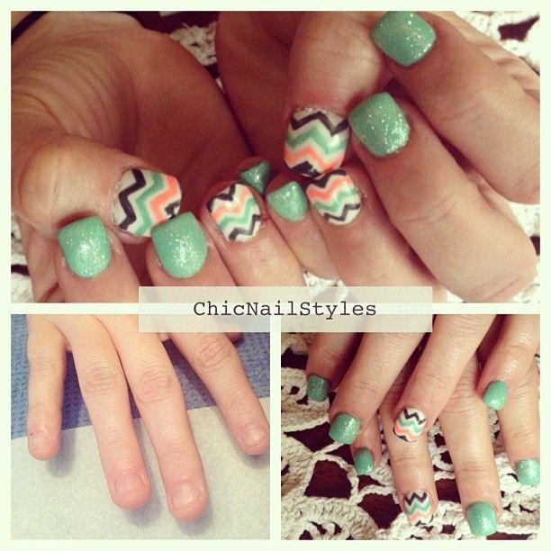 Chevron nail design.