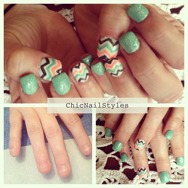 Chevron nail design.