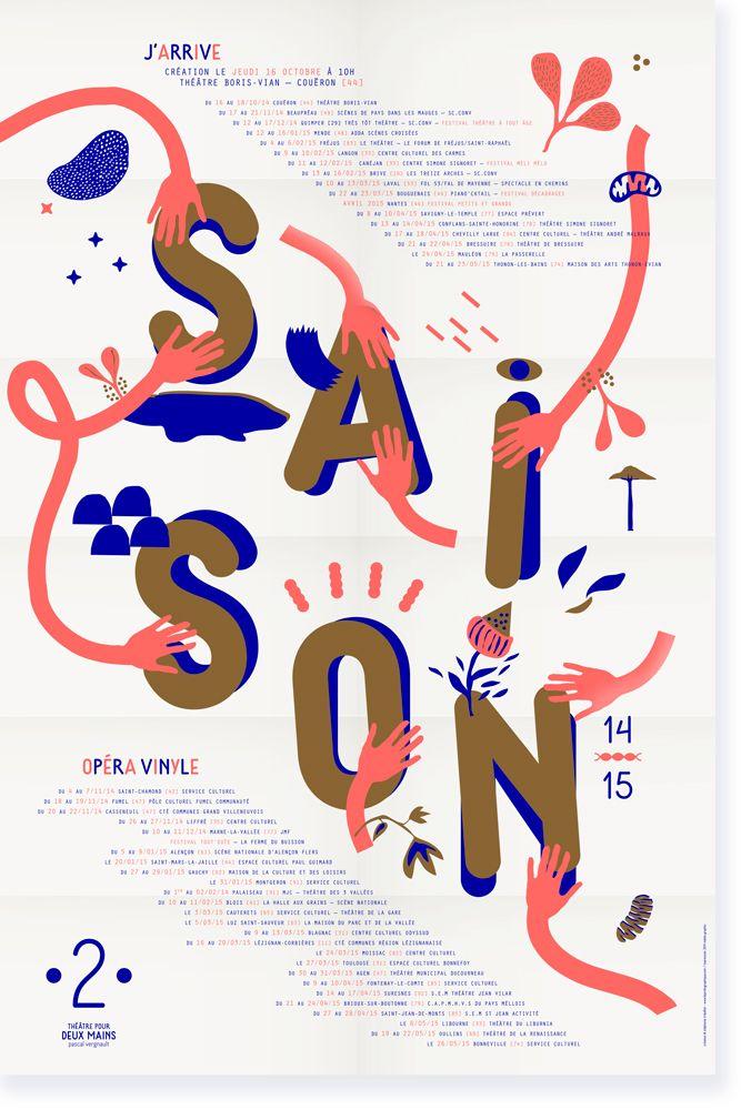 ✖ création du visuel de saison 14-15 de la compagnie théâtre pour deux mains - Pascal Vergnault : stephanie triballier / lejardingraphique.com