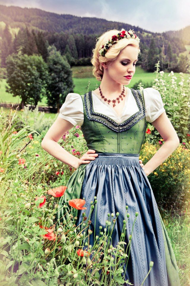 """The traditional dirndl consists of a blouse, full skirt, bodice & apron. """"Dirndl"""" has come to refer both to the dress & the girl wearing it. When checking out a dirndl (either as competition or target of affection) make sure to check where the knot of the apron is tied: a knot on HER left-hand side side means she is single & available. sphotos-a.ak.fbcdn.net"""