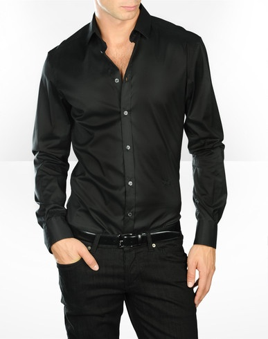 Fitted Black Shirt Mens | Artee Shirt