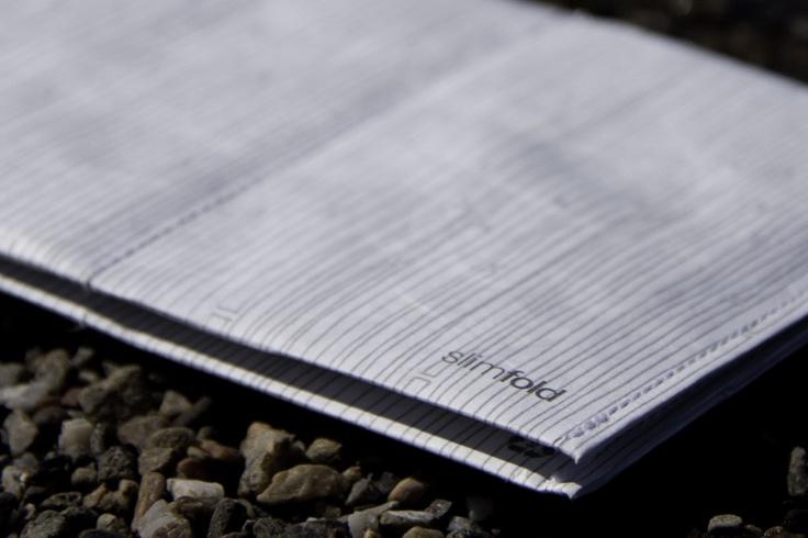 Slim fold wallet made from tyvek.